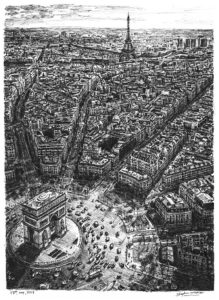 Eiffel Tower and Arc de Triomphe (Limited Edition of 100) by Stephen Wiltshire